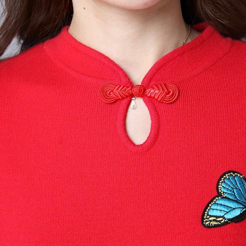 2019 gray Élégant Cachemire Chandail red Long Papillon Brodé Laine Épais Hiver Mince Et Robes En Rétro Cheongsam Tricot Sun54 Automne Black Femmes rrdBwqfR