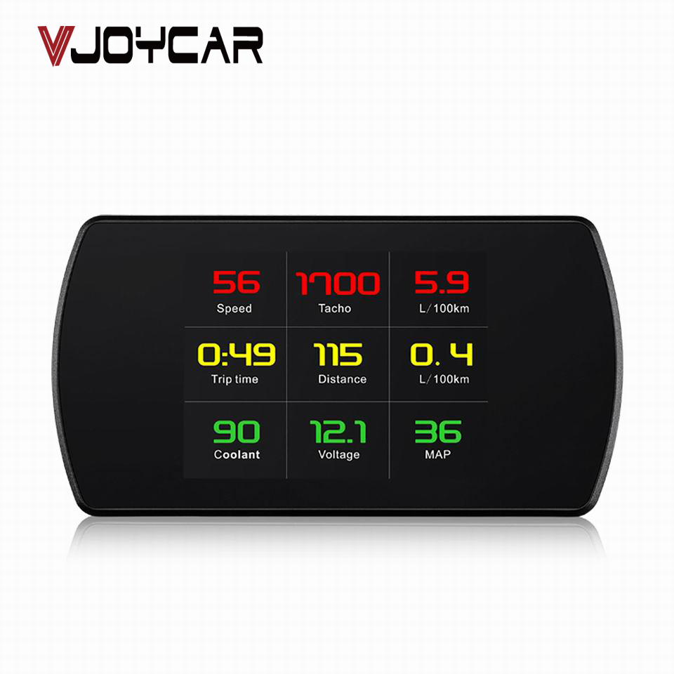 VJOYCAR OBD Smart Digital Meter Head Up Display HD Car HUD OBD2 On Board Diagnostic Digital Display Speedometer RPM Tacho Fuel in Head up Display from Automobiles Motorcycles