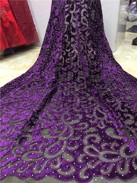 2018 Top Sale Fashion Women's Choice.African Fine Fabric Velvet With Stones For Lady Party Dress