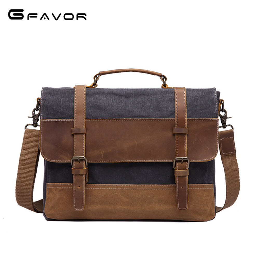 G-FAVOR Retro Briefcase Men Business Computer Messenger Bag Crazy Horse Leather&Canvas Crossbody Bag Male Laptop Handbags ipad bag handbags male vertical section business briefcase men bag korean trendy men crazy horse bag messenger bag 2016 new
