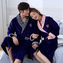 Winter Mens Robes Flannel Long Robe Knit