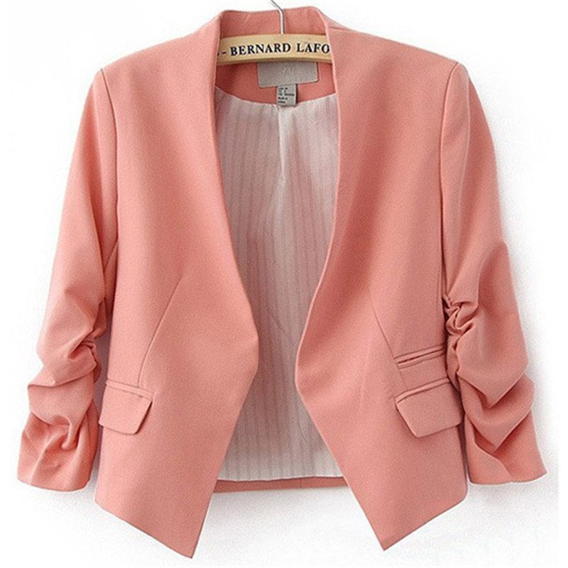 Womens Candy Color Blazer Suit Long Sleeve Without The Button Small Suit Jacket Female Participants In Ladies Blazer Coat Jacket in Blazers from Women 39 s Clothing