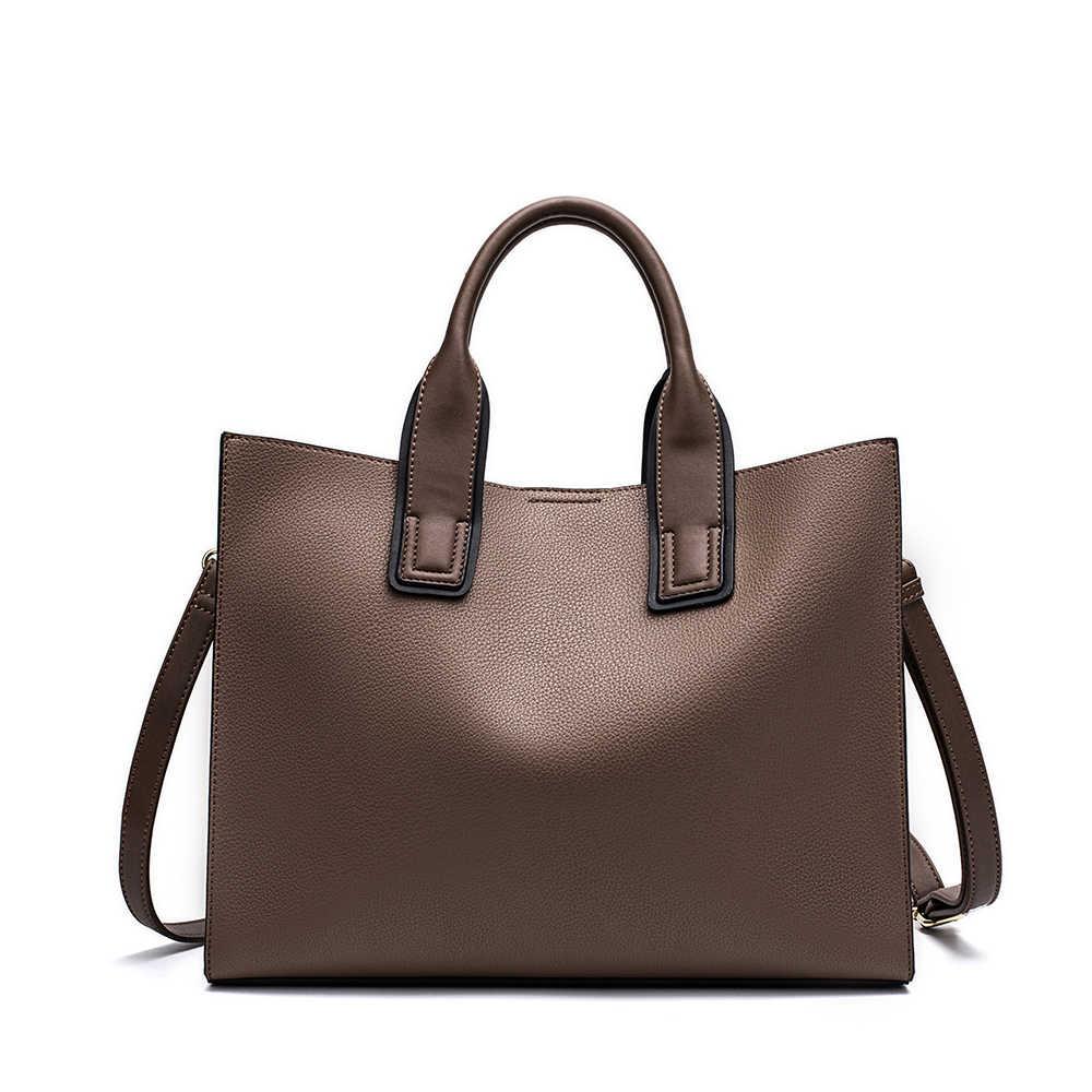 9d5fdf8f1e97 ... Miyaco Для женщин кожа Сумки Повседневное коричневые сумки Crossbody  сумка Топ-ручка мешок с кисточкой ...