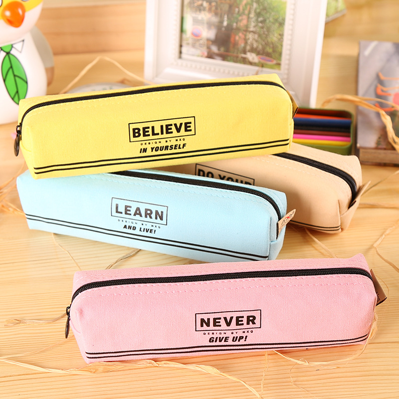 Simple Canvas Pencil-box Student School Pencil Case Office Stationery Storage Bag Small Items Bag Stationery Supplies