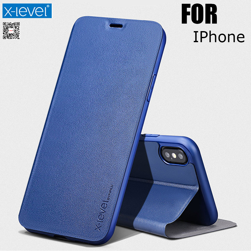 X-Level Book Leather Flip Cases For IPhone 5S SE 6 6S 7 8 Plus Ultra Thin Business Leather