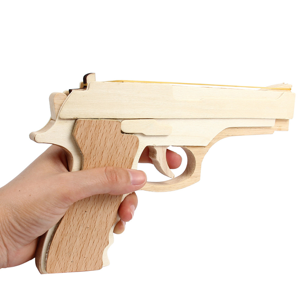 3D DIY Wooden Toys Gun Puzzle Wood Craft Construction Kit Pistol Baby Kids Gifts High Quality Toys & Hobbies Bullet Rubber Band puzzled gothic house wooden 3d puzzle construction kit