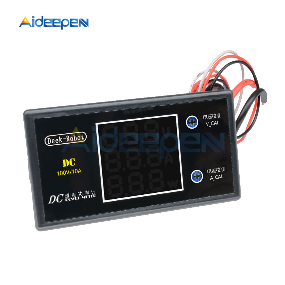 DC 0-100V 0-50V 5A 10A LCD Digital Voltmeter Ammeter Wattmeter Voltage Current Power Meter Volt Detector Tester 250W 1000W 17