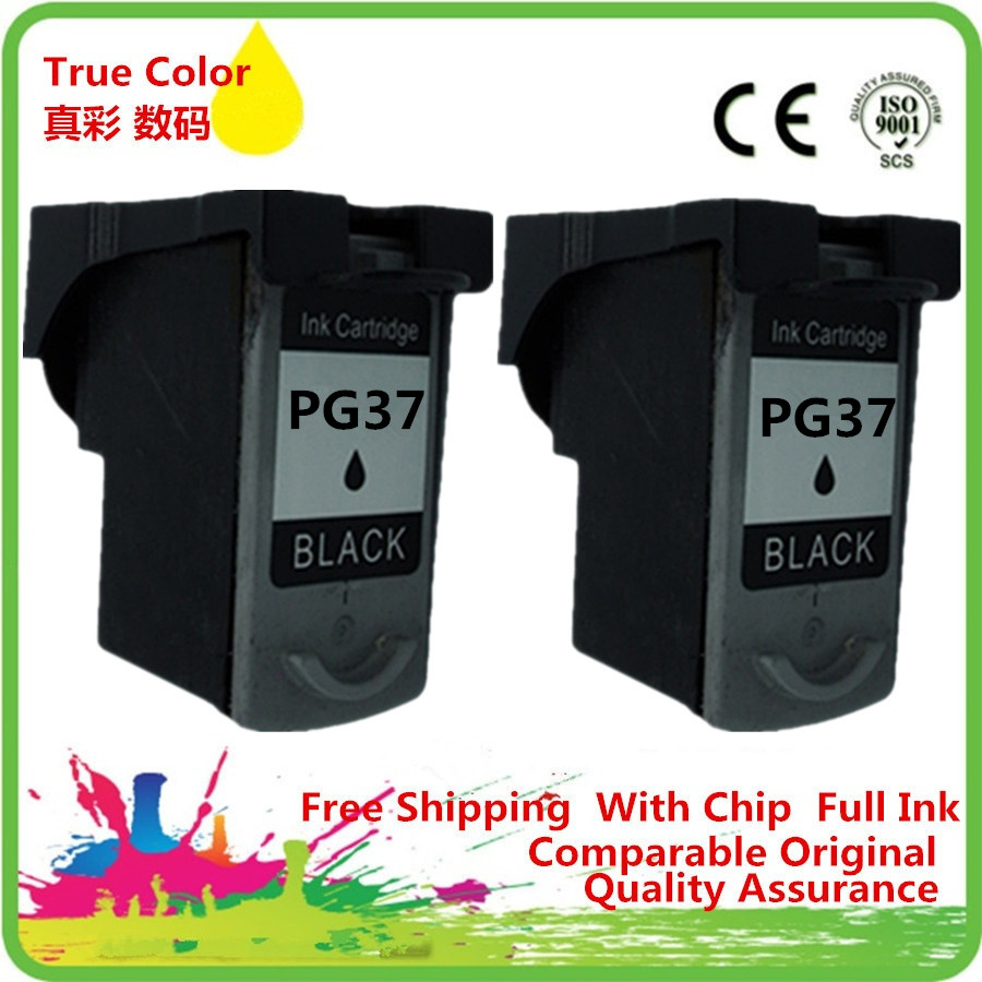 2 Bk Ink Cartridge Remanufactured For Canon PG-37BK PG 37 XL BK PG37BK PG-37 XL PG37 Pixma MP210 MX300 MX310 MP190 mini260 MP470