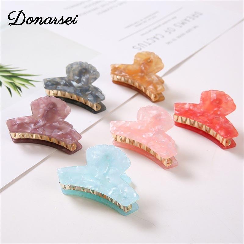 Donarsei Fashion Geometric Acrylic Hair Clip Claw For Women Girls Hairpins Crab Claws Jaw Clamp Headwear Hair Holder