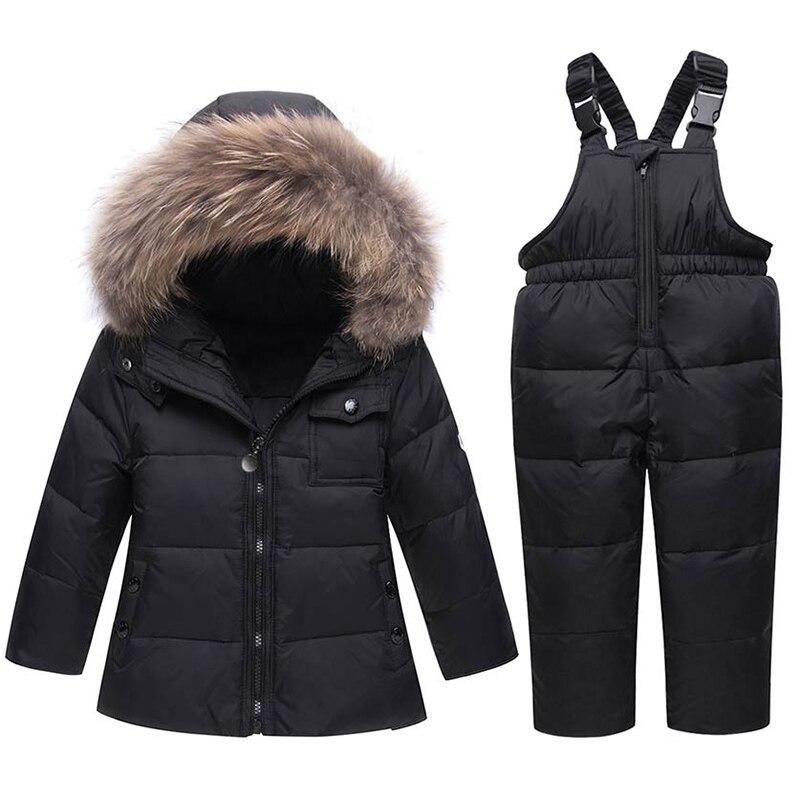 ZTOV 2018 Winter Suits for Boys Girls Boys Ski Suit Children Clothing Set Baby Duck Down Jacket Coat Overalls Warm Kids Snowsuit цена