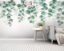beibehang wall paper Fresh hand painted watercolor green leaves Nordic minimalist TV background papel de parede 3d wallpaper