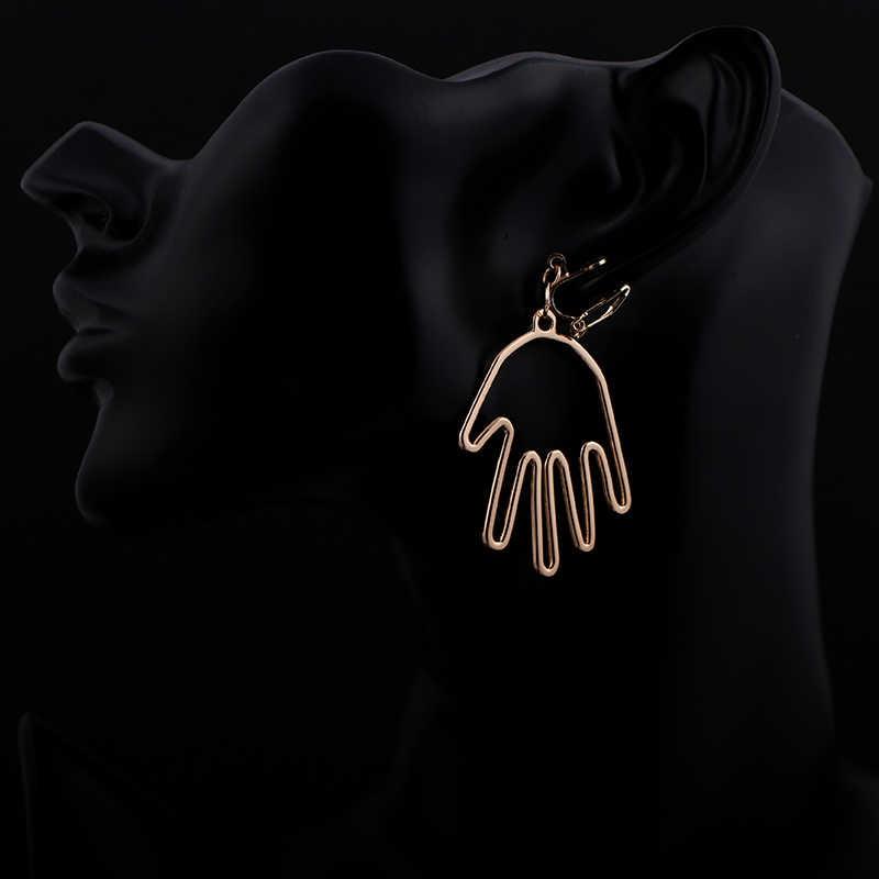 Tangan Logam Anting-Anting Tidak Ada Lubang Telinga Klip Bentuk Garis Tangan Manusia Klip Anting-Anting Tanpa Tindik Wanita Pernyataan Anting-Anting Perhiasan CE88