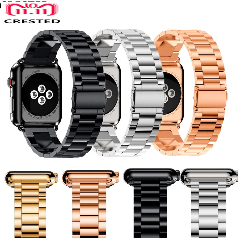 CRESTED Stainless Steel Strap for Apple Watch 4 Band 42mm 38mm aplle iwatch series 3 2 1 42MM/38MM metal wristband Bracelet belt apple watch band 38mm 42mm secbolt metal replacement wristband sport strap for apple watch nike series 3 series 2 series 1