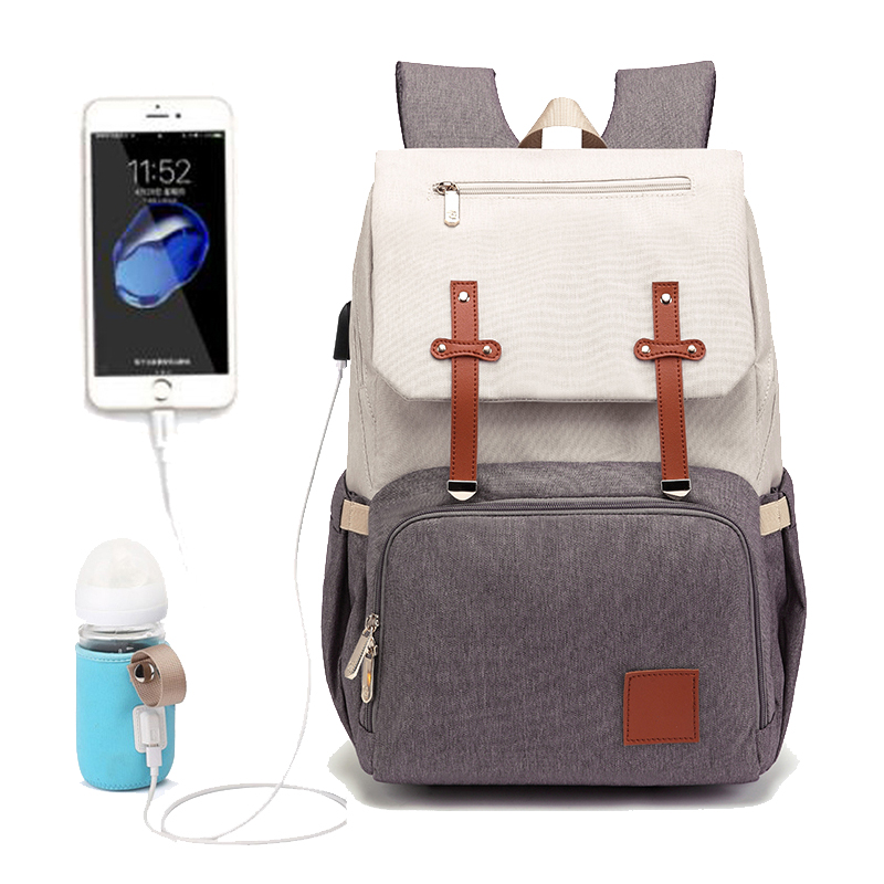 Fashion Diaper Bag Mummy Backpack Large Capacity Maternity Nappy Bag Usb Baby Stroller Bag Waterproof Oxford