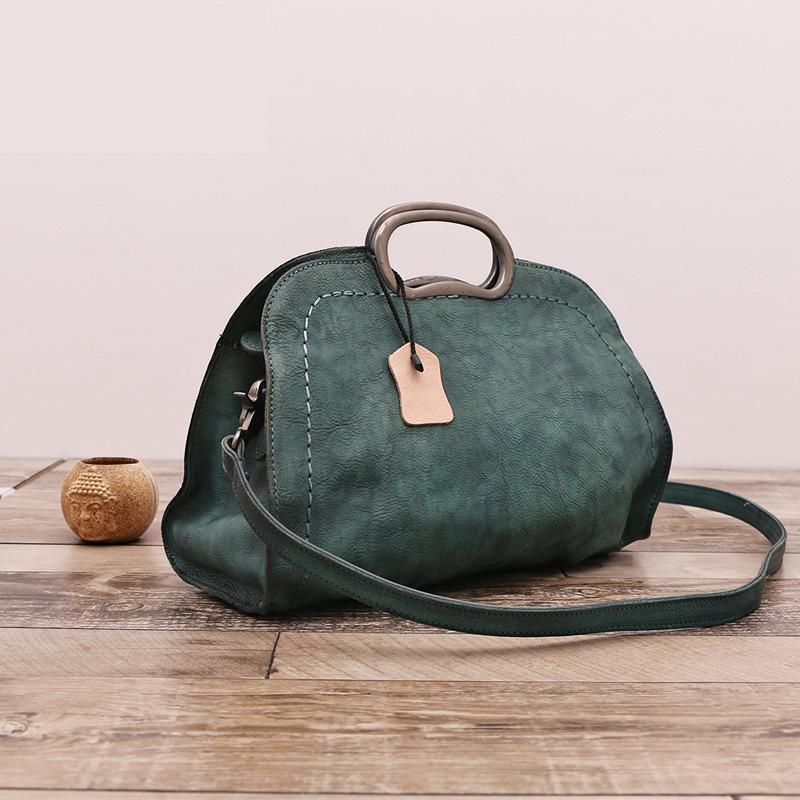 New Vintage Genuine Leather Handbag Women Fashion Shoulder Bag Designer Retro Style Cowhide Hobo Female Totes