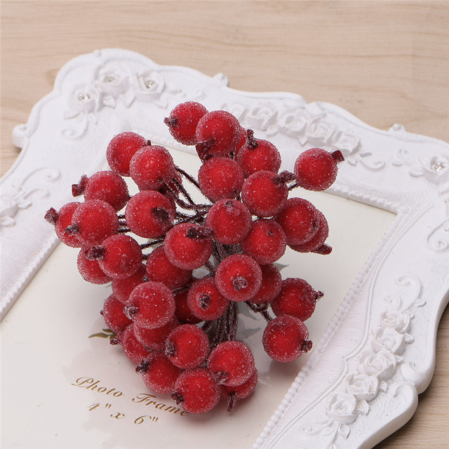 40pcs Mini Fake Fruit glass Berries Artificial pomegranate red cherry Bouquet Stamen Christmas Decorative Double heads -Y102