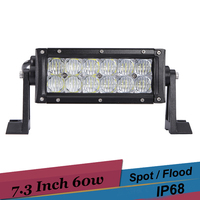 60W 7 Inch Offroad LED Work Light Fog Lamp Spot Flood SUV 4x4 Tractor Boat ATV