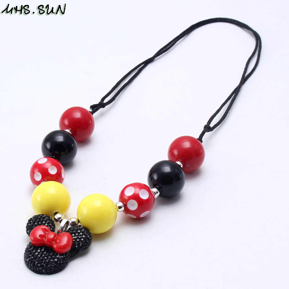MHS.SUN Fashion Cartoon Pendant Baby Girls Beads Adjustable Rope Necklace Kids Chunky Beaded Necklace for Child Chunky Jewelry