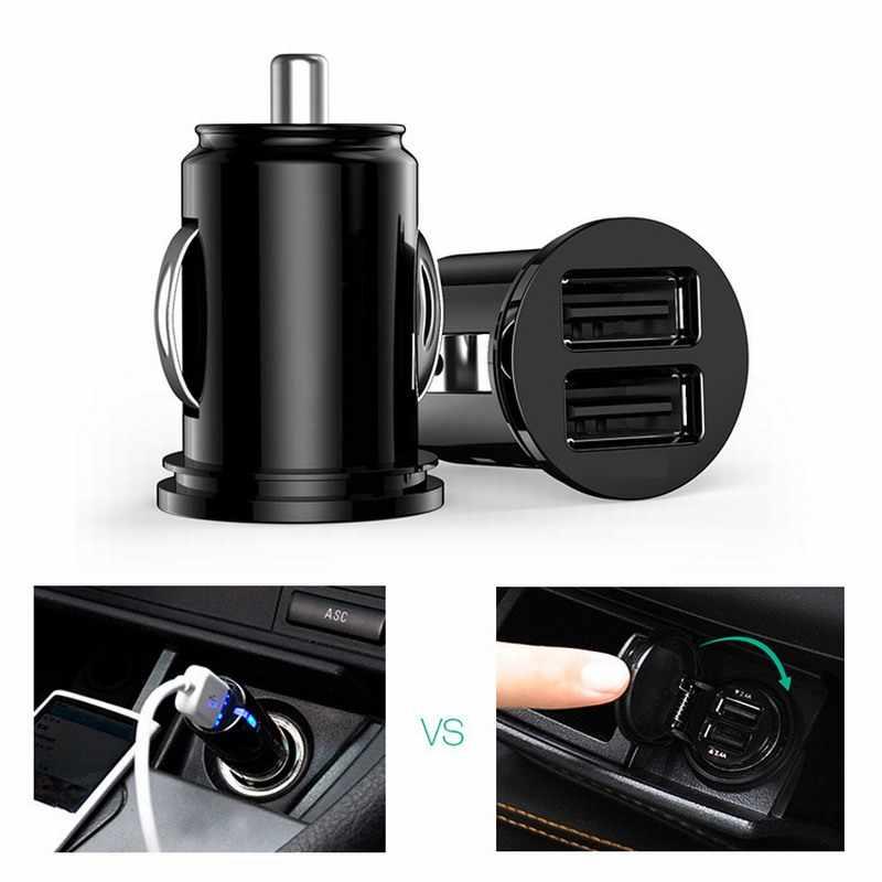 Coche camión Dual 2 puerto USB Mini adaptador de cargador para iPhone 7 Plus 6 5S 4S Huawei P10 Samsung Galaxy S8 S7 celular negro 12 V de potencia