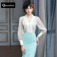 QUEENTOR 2017 brand summer style high-end vintage v collar solid long sleeve fashion elegant organza mint green shirt female