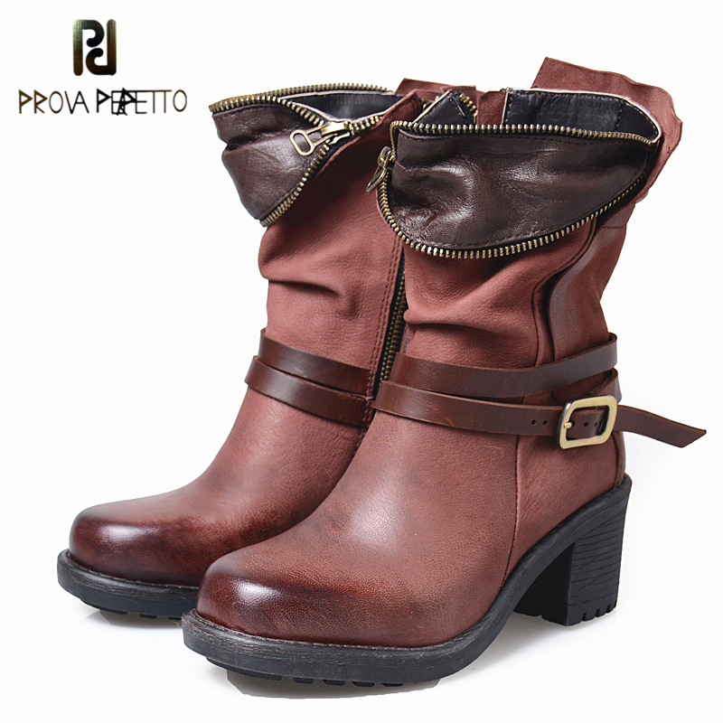 Prova Perfetto Women Vintage Side Zip Short Boots Strap Buckle Square Toe High Heels Boots Mid-Calf Pleated Casual Shoes fancy women brown suede flowing fringe stiletto heels mid calf boots round toe platform tassel side zip long boots new design