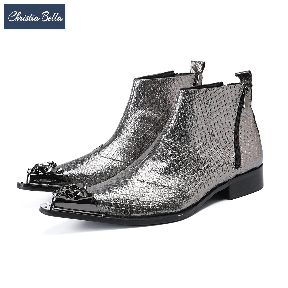 Christia Bella British Silver Men Ankle Boots Genuine Leather Dress Boots Winter Pointed Toe Motorcycle Boots Plus Size Shoes christia bella men pointed toe genuine leather slip on british formal dress shoes vogue summer slippers oxfords plus size 38 47