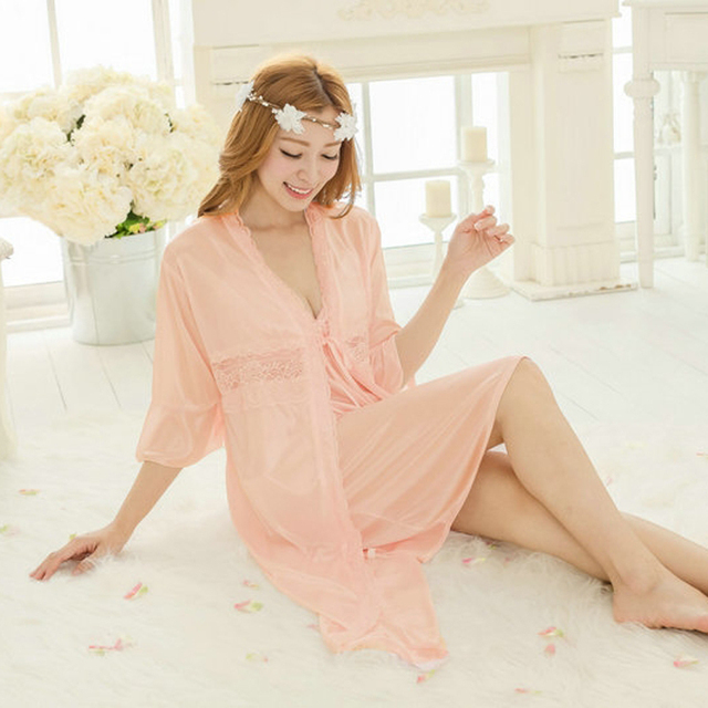 Free shipping women lace Large size nightdress pajamas plus size robe sets bathrobe Sleepwear long nightgown night dress  Y227