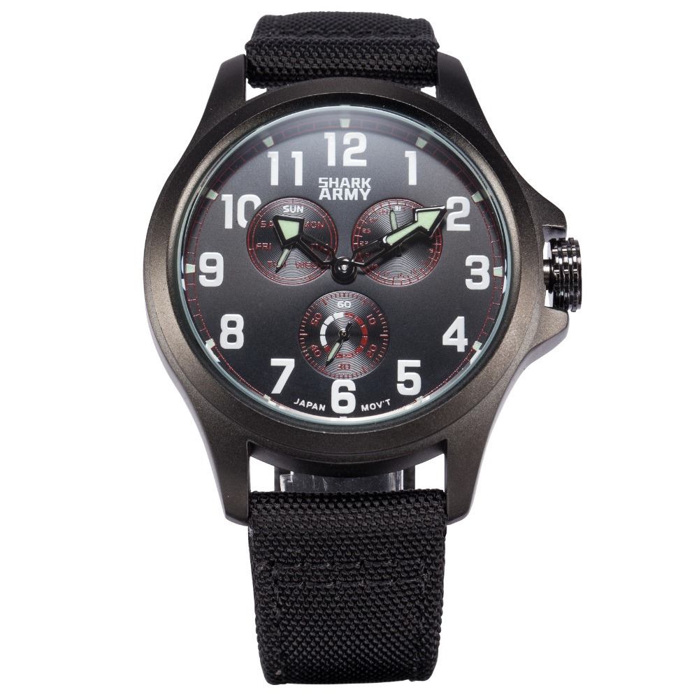 Luxury Brand Shark Army New Relogio Masculino Fabric Strap Day Date Display Hodinky Men Military Clock Male Sport Watch /SAW131 break men watches luminous military army analog date day sport watch leather strap male clock quartz watch relogio masculino new