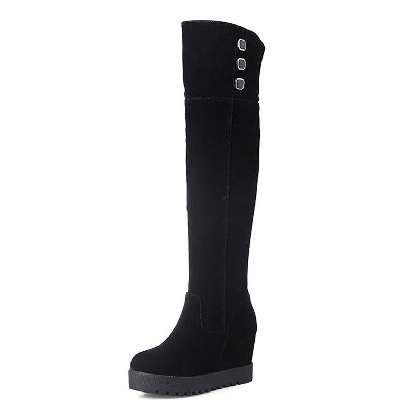 Big Size 34 43 Hidden Wedges Casual Over the Knee Boots Add Fur Women s Winter