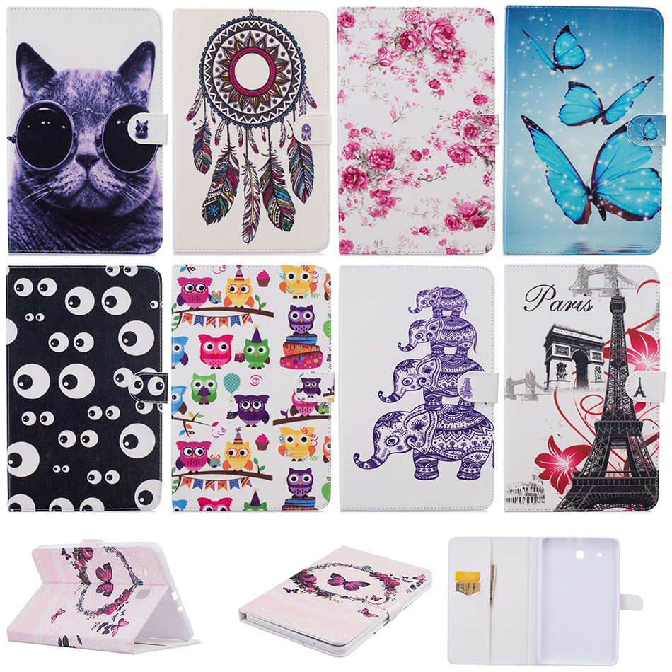 Fashion Butterfly Cat Pattern PU Leather Flip Case Funda For Samsung Galaxy Tab E 9.6 T560 T561 SM-T560 Tablet Back Cover Coque bf luxury tablet case for samsung galaxy tab e 9 6 sm t560 sm t561 t560 t561 pu leather flip cute book stand cover protector