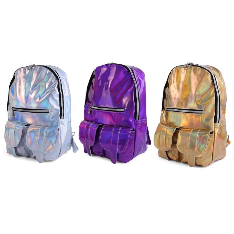 цена на New Fashion School Bag Travel Hologram Laser 914C Metallic Color Rucksack Casual Backpack