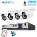 MISECU H.265 48 V 8CH POE CCTV Системы 4.0MP Пуля IP POE камера безопасности Аудио запись Outdoort Водонепроницаемый P2P комплект видеонаблюдения