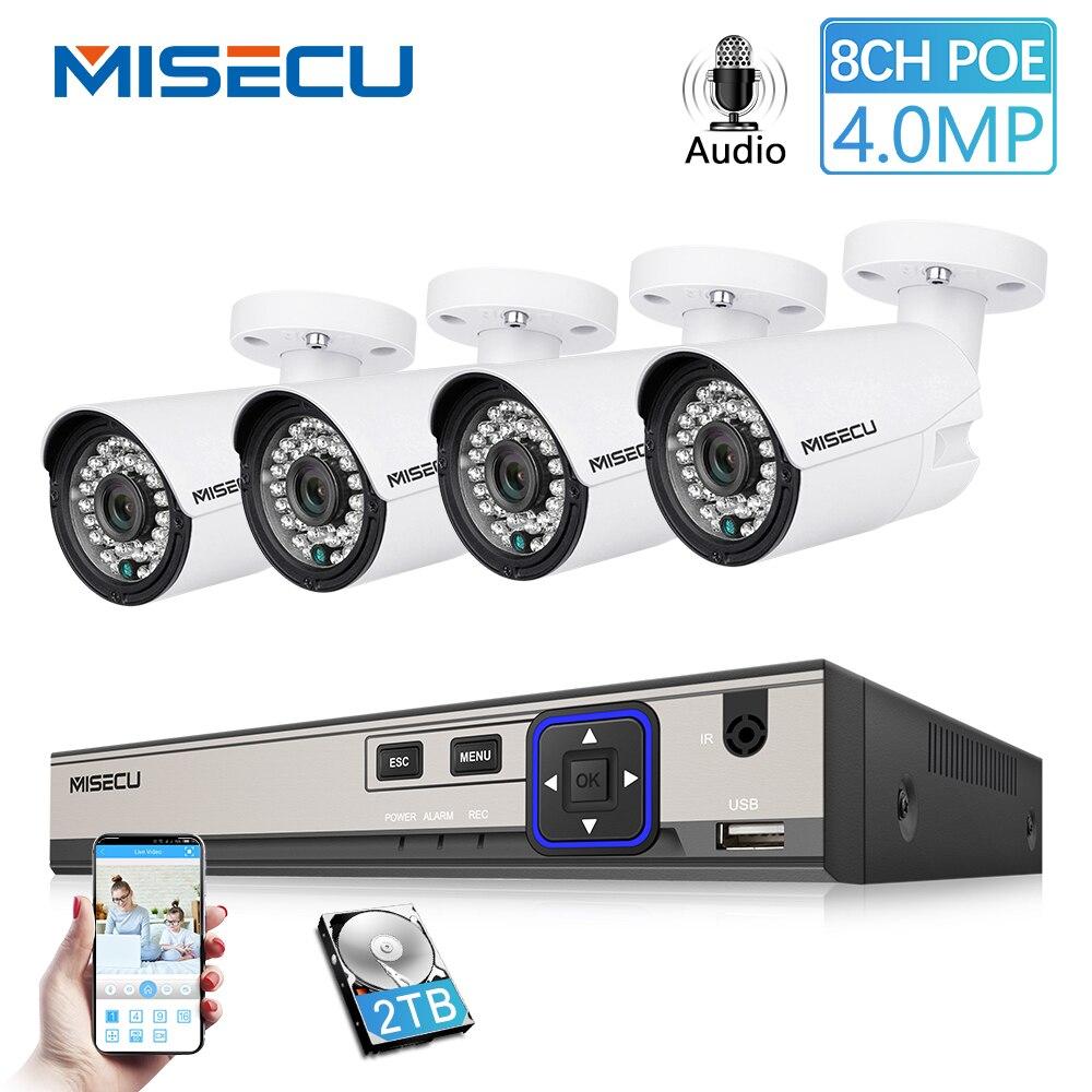 MISECU H.265 48 V 8CH POE système cctv 4.0MP Bullet IP POE caméra de sécurité Audio Record Outdoort Étanche P2P kit de surveillance