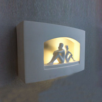 Modern Back to Back Lovers Bedroom Wall Lights Cute Ivory White Gypsum Wall Lights Corridor Bedsides Wall Lighting Fixtures