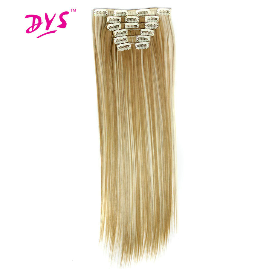 Deyngs Long Straight Women Hair Extension 24inch 60cm 160g 16clips in Hair Extension Synthetic Hairpiece Haistyle Heat Resistant