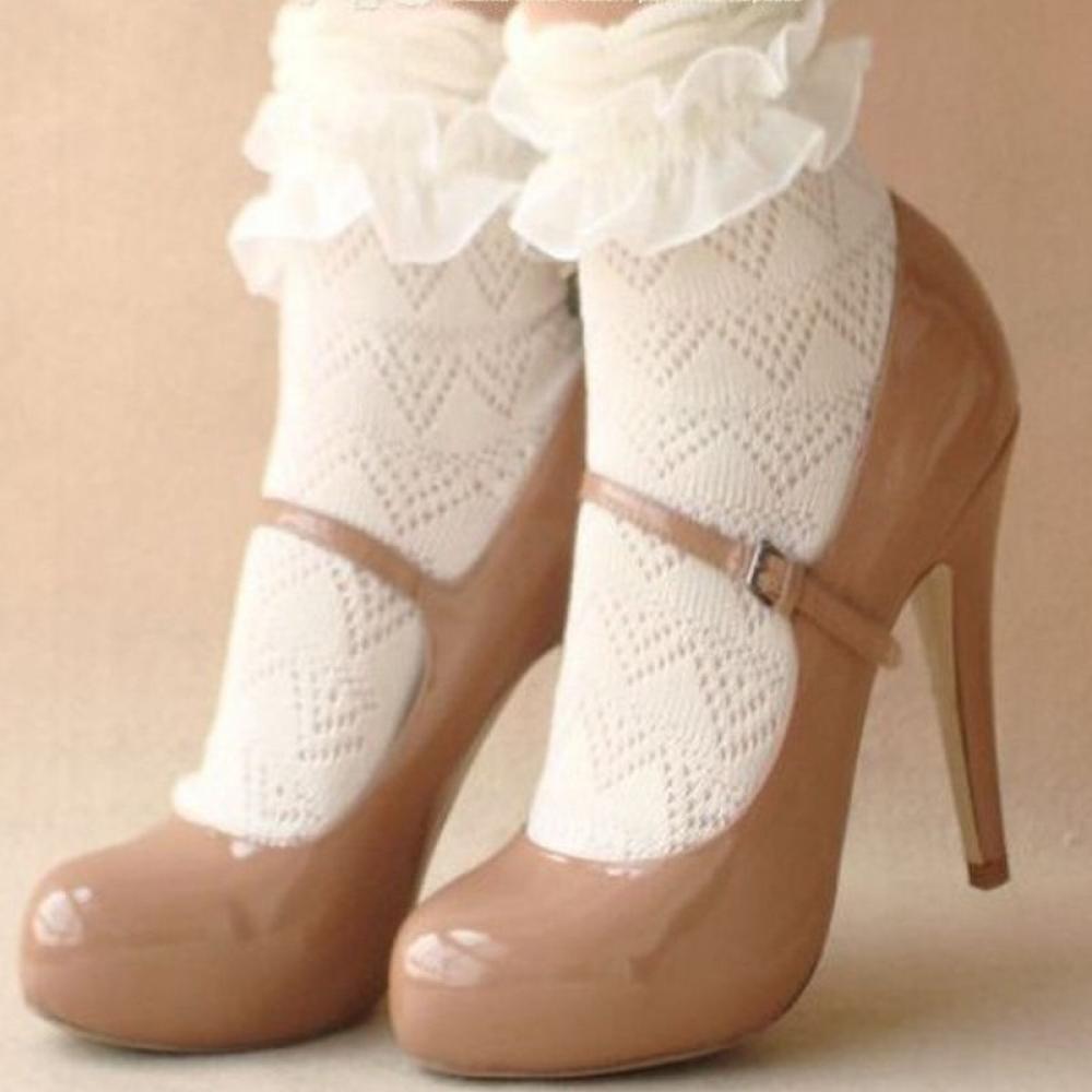 New Ladies Black Ankle High Retro Beaded Bow Socks Stockings