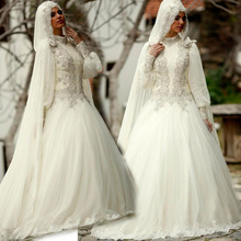2015 High Neck Muslim Wedding Dresses With Long Sleeve Hijab Crystals Robe De Mariage Custom-made