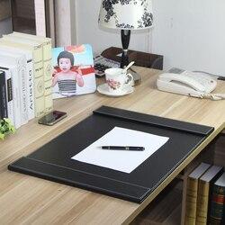 60x45 cm grande doppia clip di legno ufficio in pelle scrivania organizzatore cartella di file di bordo di scrittura pad mat tastiera nera marrone 236A