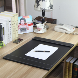 60x45 cm large double clip wooden leather office desk organizer writing board pad keyboard mat file folder black brown 236A