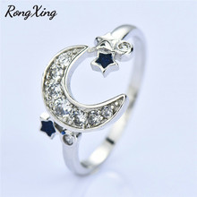 3d21670e1948 RongXing Luna estrellas anillo de Plata de Ley 925 anillos para las mujeres  joyería del compromiso de la boda blanco negro anill.