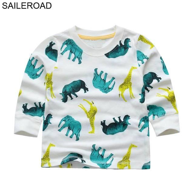 7df9ba32 SAILEROAD 1-6Year Elephant Animal Savanna Boys Girls Long Sleeve Tops T  Shirts 2018 Autumn Full Shirts for Children Kids Clothes