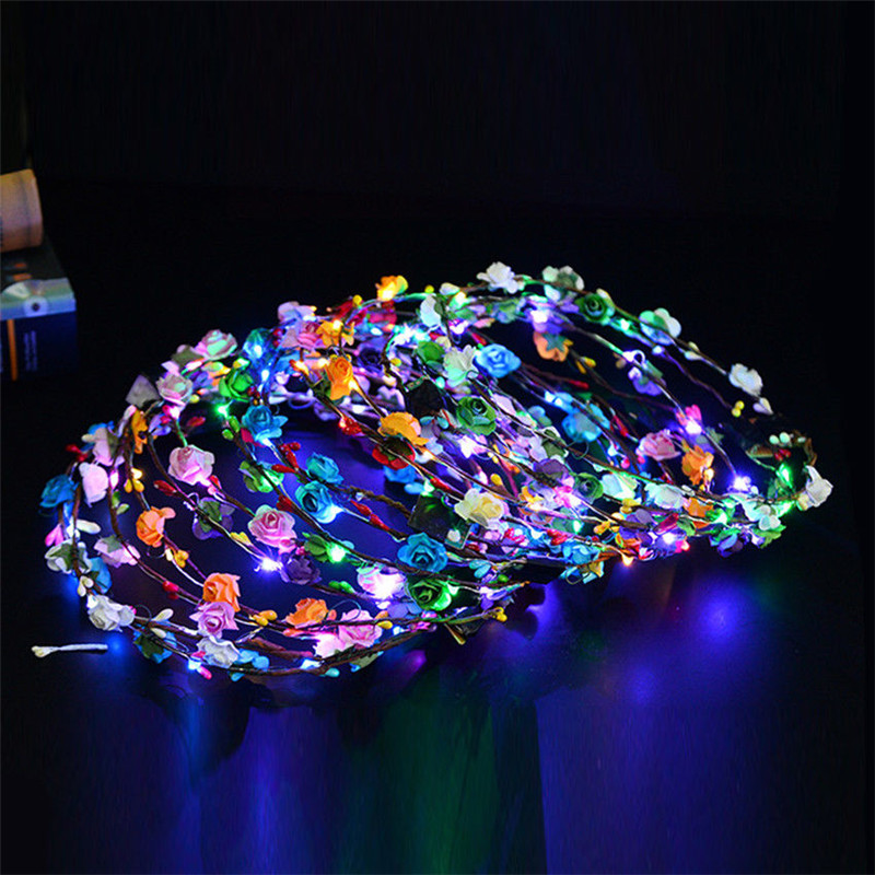 50pcs/lot Wedding Xmas Party Women Lady LED Light Up Flower Headband Hair Wreath Garland 8 Colors