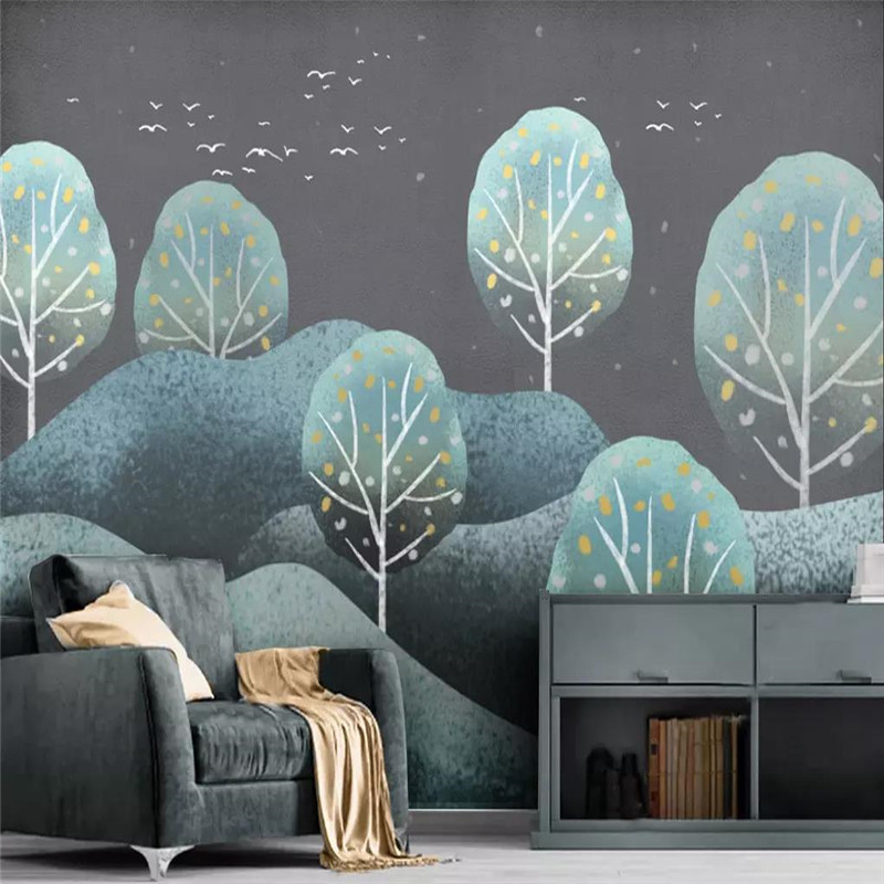 Custom wallpaper hand painted forest landscape retro modern minimalist background wall painting high grade waterproof material in Wallpapers from Home Improvement