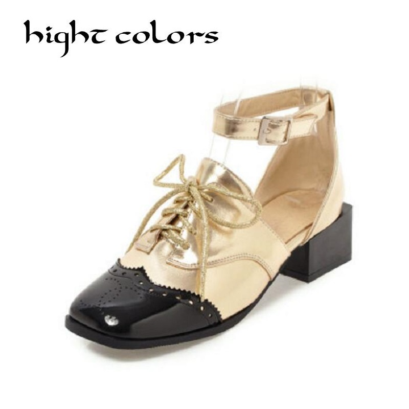 2018 Spring New Fashion Women Flat Shoes Patent Leather Square Toe Gold sliver Spell Color Ankle Strap Oxfords Shoes For Women 2014 new gold scorpion black patent leather flat women sandals shoes free shipping
