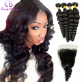 Model Grade Loose Wave Hair Set with Closure 4Weft Bundle Hair plus 1 Lace Closure Loose Wave Virgin Human Hair Soft Bouncy Hair