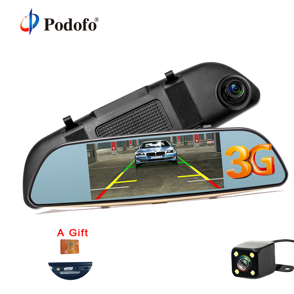 Podofo 3G Wifi Car DVR 5 Dual Lens Camera FHD 1080P Registrar Android 5.0 Video Recorder Rearview Mirror GPS Navigation Dashcam