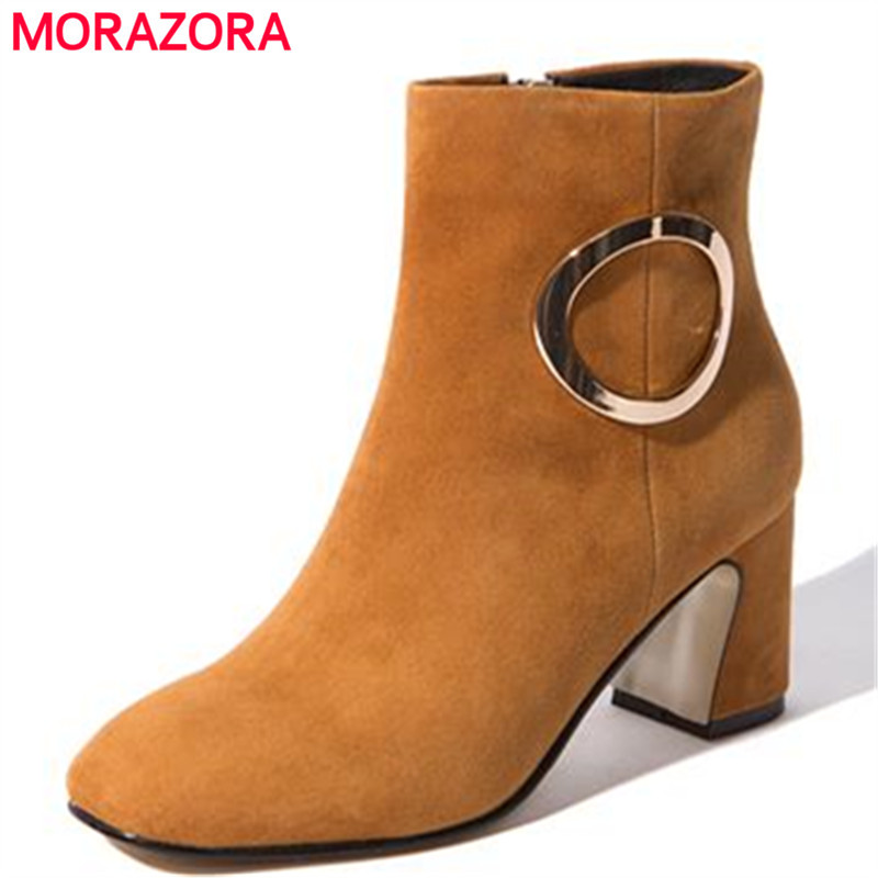 Newest thick medium heels metal decorative square toe sweet women shoes genuine leather solid yellow elegant ankle boots selens pro 100x100mm 12nd square medium