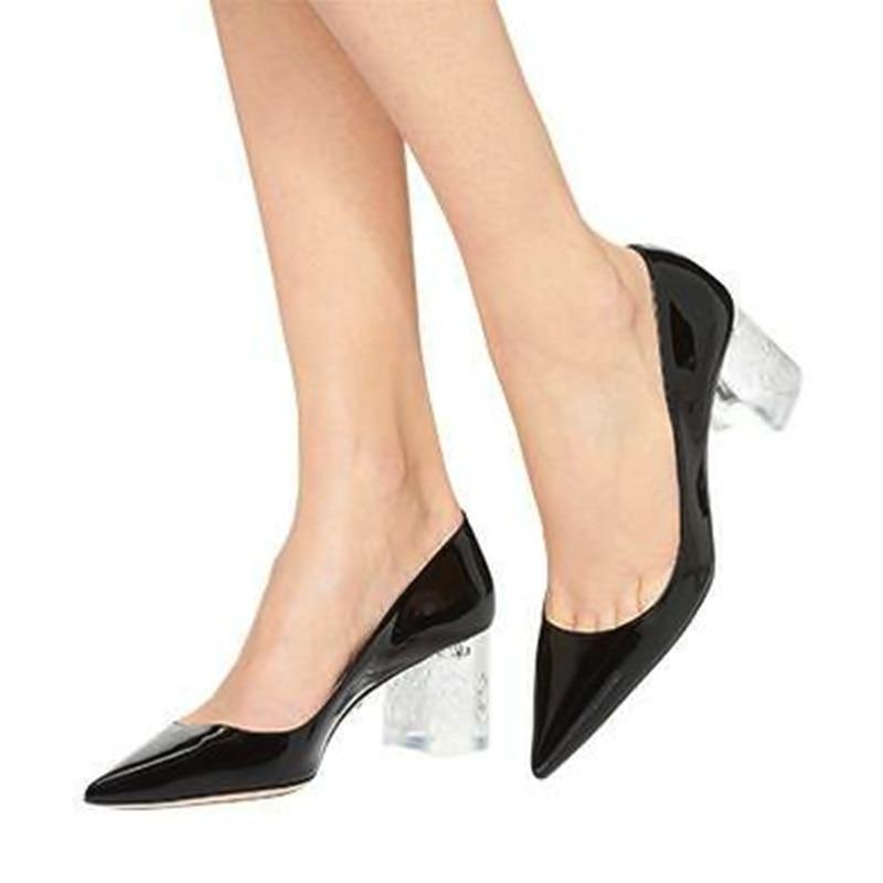 Mujeres pink Dama silver Cuero De Tacones Patente Transparente 2019 Zapatos Las Punta Black Rosa Negro Boda Mujer Cristal Verano Mstacchi UpFqwII