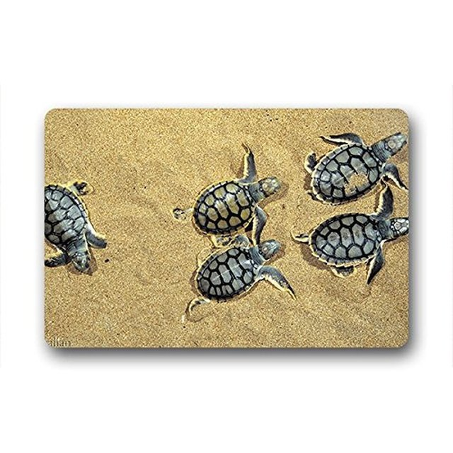Doormat Custom Machine Washable Turtle Pattern Natural Coco Coir Door Ma Bathroom Kitchen Decor Area Rug
