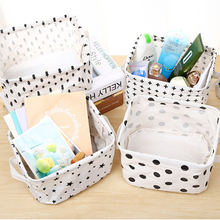 Cotton Linen Desktop Storage Basket with Handle Cosmetic Sundries Organizer Box Jewelry Stationery Container Kids Toys Holder